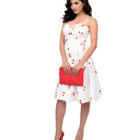 Stop Staring! 1950s Style White & Red Strawberry Swing Dress