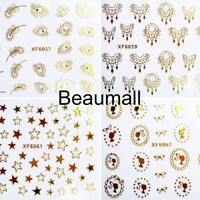Fashion 3D Gold Designs Water Nail Decals Water Transfer Nail Stickers For Nail Tips Beauty DIY#XF6050~XF6072