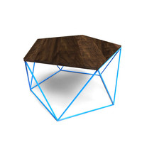 Modern Coffee Table With Solid Wood Top and Welded Steel Icosahedron Segmented Base