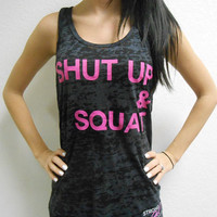 Shut Up and Squat Tank Top. Workout Tank Top Shirt. Crossfit Tank Top. Shut Up & Squat Shirt. Womens Burnout Tank Top. Gym Tank Top.