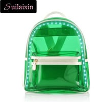 LED Luminous Backpack PVC Jelly USB Light Up Charging School Bags Transparent Bag For Teenagers Backpacks