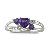7/8ct Triple Heart Shaped Amethyst and Diamond Ring in Sterling Silver