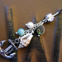 Lightweight Anchor Seashell Cluster Belly Button Jewelry Ring Navel Piercing Barbell Bar Pearl Shell Dangle Charm