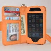Navor Folio Wallet Case for iPhone 4 4S Pockets for Cards & Money, Clear Window Slot for License ID ( Orange )