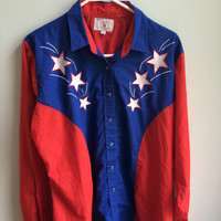 AMERICAN flag button up / july 4th shirt / stars and stripes
