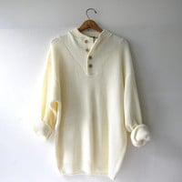 vintage creamy white sweater. slouchy cotton sweater. henley pullover. oversized cozy fit. Wooden buttons. Men's XL