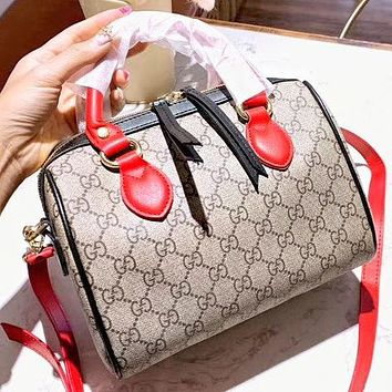 GUCCI New fashion more letter print leather boston pillow shape shoulder bag women crossbody bag handbag