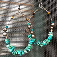 Huge Vintage 80's Bling 925 Silver & Turquoise gemstone Large Beaded Hoop Earrings