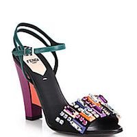 Fendi - Bejeweled Colorblock Leather Sandals - Saks Fifth Avenue Mobile