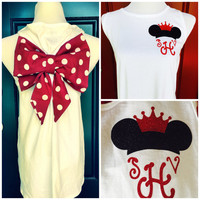 Woman/ Teen Disney Bow Monogrammed Tank Top - Tank with Bow on back