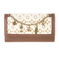 Tri-Fold Wallet with Crochet Detail and Charms