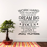 Wall Decal Quote Work Hard, Dream Big, Never Give up, Stay Humble Decal Teamwork Vinyl Stickers Home Bedroom Motivation Quote Decor T176