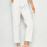 Nat White Denim High Waist Paperbag Jeans Missy Empire