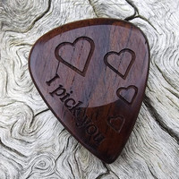 Handmade Premium Laser Engraved Cocobolo Rosewood Guitar Pick - Actual Pick Shown - Engraved Both Sides - Artisan Guitar Pick