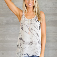 * Mago Lightweight Tank With Coral Trim -Marble Print