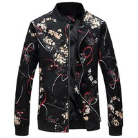 Cool Men Jacket Flowers Print Slim Fit Bomber Jacket Men 2018 Fashion Zipper Windbreaker Jacket Male Casual Flroal Jackets For MenAT_93_12