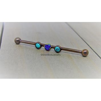 Turquoise industrial piercing barbell 14g bronze titanium anodized custom length 1 1/4 pick your own
