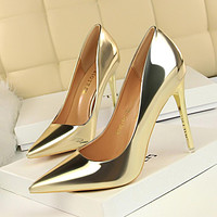 Fashion metal heels women's shoes high-heeled shallow mouth pointed sexy nightclub was thin shoes gold