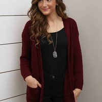 Burgundy Cable Knit Open Cardigan