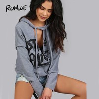 ROMWE Women Hoodies Sweatshirts Printed Distressed Cut Out Edgy Hoodie Autumn Grey V Neck Long Sleeve Sexy Pullovers