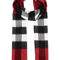 BURBERRY Woman's Men's Red Mega Check 100% Cashmere Scarf