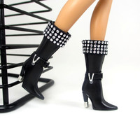Barbie Doll Shoes - Doll Boots with Metal Accent Designs For Barbie Sized Dolls