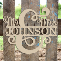 Mr and Mrs Name Frame Sign, Unfinished Framed Monogram