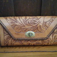 Vintage Brown Flower Embossed Tooled Leather Clutch
