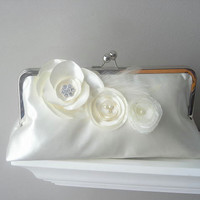 Princess - Ivory Satin Bridal Clutch With Fabric Flowers And Rhinestones And Feathers - Made To Orde | Luulla