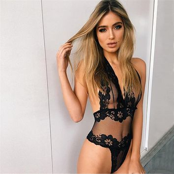 Women Bodysuit 2017 New Summer Style Halter V Neck Backless Hollow Out Body Suit Sexy Lace Floral Black Mesh Bodysuits