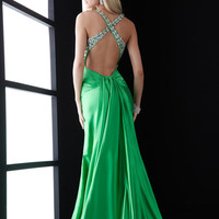 Green Prom Dress with Criss Crossing Back Straps JZ-4602,Most Popular Prom Dresses