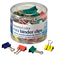 """OIC® Binder Clips Tub, Mini Clips, 9/16"""", Assorted Colors, Pack Of 60 Item # 482161"""
