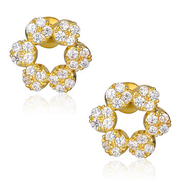 Flower W. Clear Round Cubic Zirconia Stud Earrings