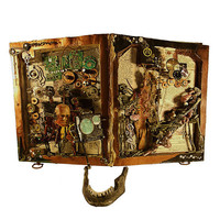 Mixed Media Altered Book Horror and Steampunk by runkpockart