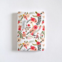 Floral Pocket Journal | Hand Illustrated Pocket Notebook with Botanical Pattern : Blooming Wreath Collection