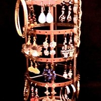 Earring Go Round Jewelry Stand Brown Holder Organizer Display Tree Made of Metal Spins holds 50 plus all type earrings