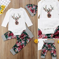 USA Newborn Baby Boys Girls Xmas Deer Tops Romper Floral Pants Hat Outfits Set
