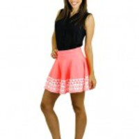 Neon Coral Skirt - C34