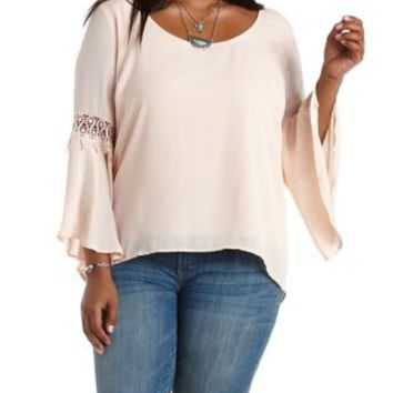 Plus Size Blush Crochet-Trim Bell Sleeve Top by Charlotte Russe