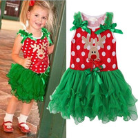 Children Dresses Christmas Girl Dress Baby Kids Christmas Reindeer Lace Tutu Dress One Piece Outfits = 1958101828