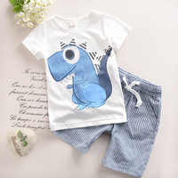 2T-6T   Toddler Boys Clothing Children Summer Boys Clothes Cartoon Kids Boy Clothing Set T-shit+Pants 100% Cotton