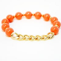 Gold Chain Coral Beaded Bracelet - Beaded Jewelry - Gold and Coral Bracelet - Stretch Bracelet