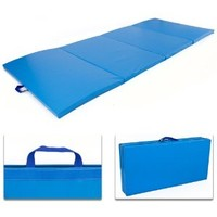 "4' x 8' x 2"" PU Leather Gymnastics Tumbling / Martial Arts Folding Mat - Blue"