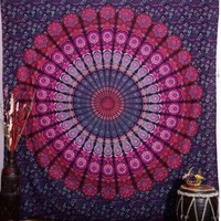 Indian Mandala Tapestry ~ Wall Hanging Tapestries ~Bedspread Beach Towel Yoga Mat 210x148cm Blue
