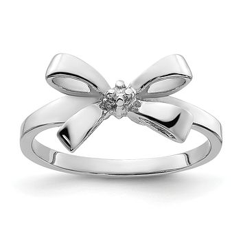 14k White Gold Polished AA Real Diamond Bow Ring
