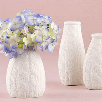 Mini Knitted Style Porcelain Vases (Set of 4)