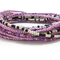 3 Stretch seed bead wrap bracelets, stacking, beaded, boho anklet, bohemian, stretchy stackable multi strand, pink, purple, black, silver