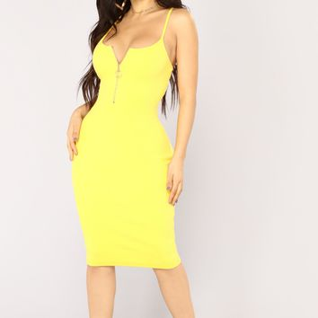 Slow Love Midi Dress - Yellow