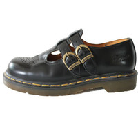 Dr. Martens Mary Janes Black Leather Made in England Buckle Goth Hipster Preppy Lolita Chunky Platform Shoes Boots Womens Size US 8 / UK 6
