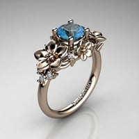 Nature Inspired 14K Rose Gold 1.0 Ct Blue Topaz Diamond Leaf Vine Unique Floral Engagement Ring R1026-14KRGDBT